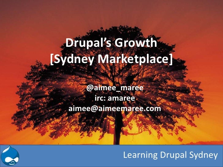 Drupal's Growth[Sydney Marketplace]       @aimee_maree         irc: amaree   aimee@aimeemaree.com              Learning Dr...