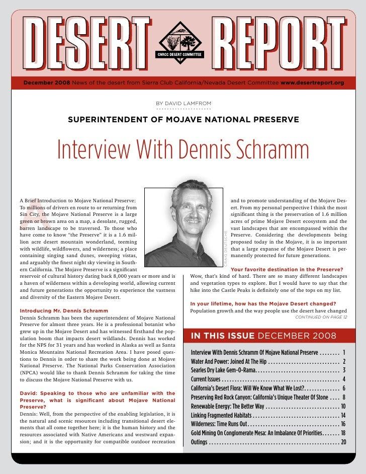 December 2008 News of the desert from Sierra Club California/Nevada Desert Committee www.desertreport.org                 ...