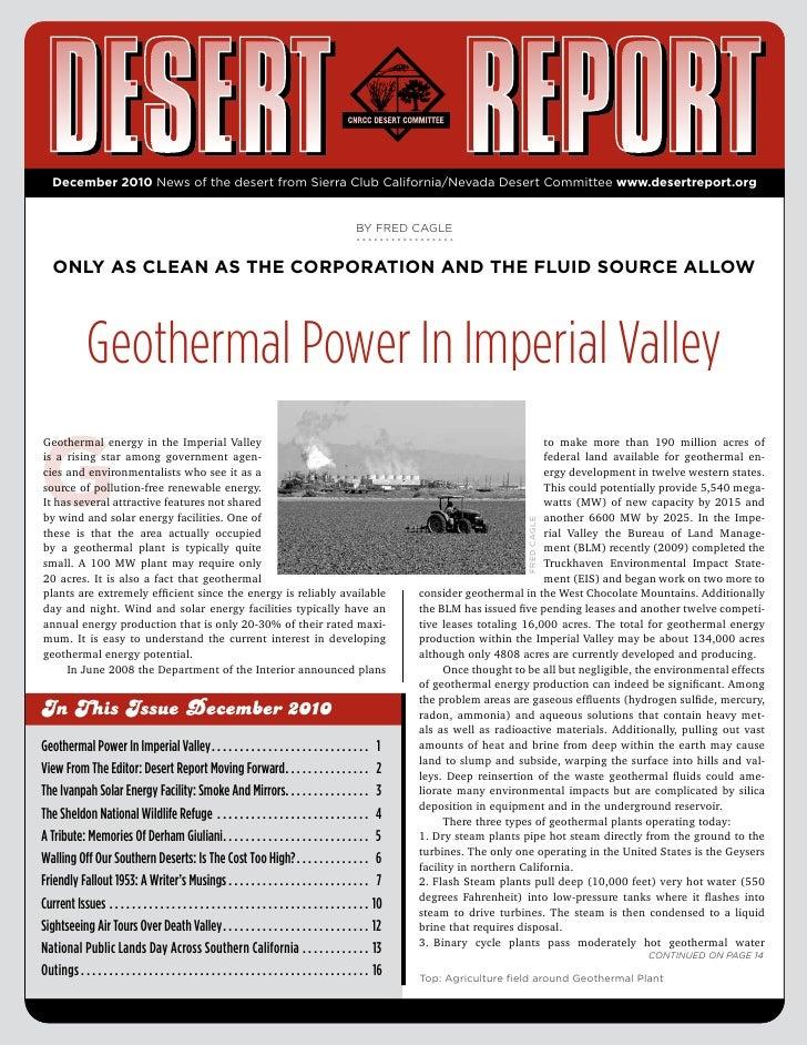 December 2010 Desert Report, CNCC Desert Committee