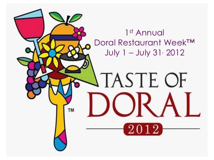 1st AnnualDoral Restaurant Week™  July 1 – July 31, 2012
