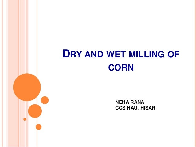 DRY AND WET MILLING OF CORN  NEHA RANA CCS HAU, HISAR