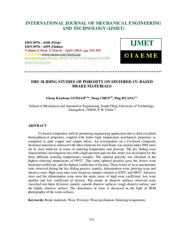 Dry sliding studies of porosity on sintered cu based brake materials