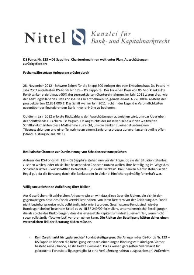 DS Fonds Nr. 123 – DS Sapphire: Chartereinnahmen weit unter Plan, AusschüttungenzurückgefordertFachanwälte setzen Anlegera...