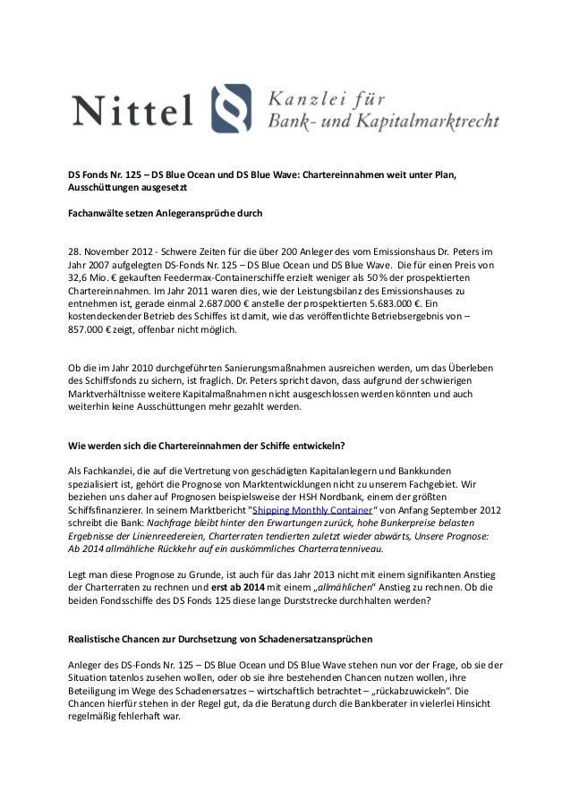 DS Fonds Nr. 125 – DS Blue Ocean und DS Blue Wave: Chartereinnahmen weit unter Plan,Ausschüttungen ausgesetztFachanwälte s...