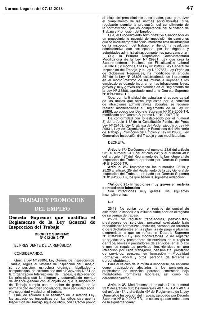 47  Normas Legales del 07.12.2013 el cumplimiento de las acciones contenidas en el Plan Nacional. Artículo 5°.- Disponer q...