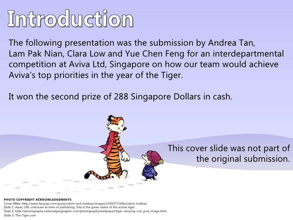 The following presentation was the submission by Andrea Tan,    Lam Pak Nian, Clara Low and Yue Chen Feng for an interdepa...