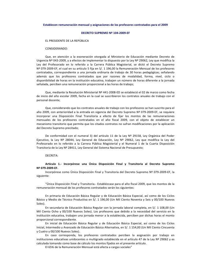Establecenremuneraciónmensualyasignacionesdelosprofesorescontratadosparael2009                                ...