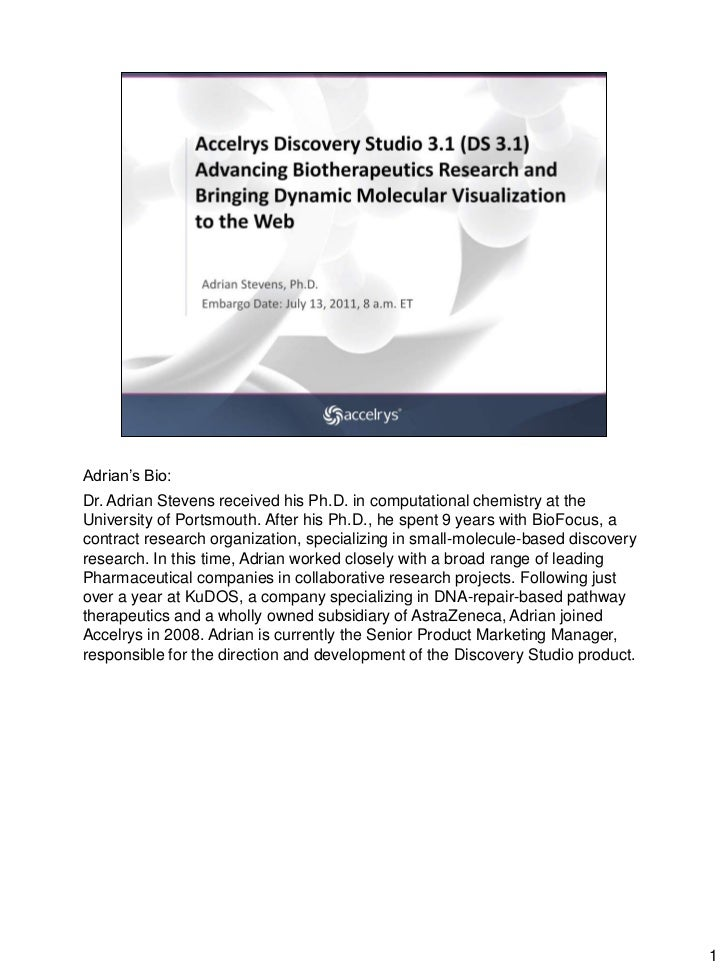 Accelrys Discovery Studio 3.1