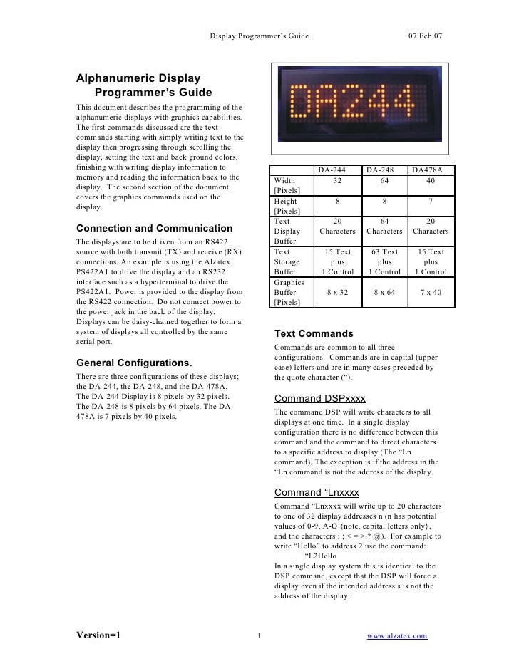 Display Programmer's Guide                               07 Feb 07     Alphanumeric Display    Programmer's Guide This doc...
