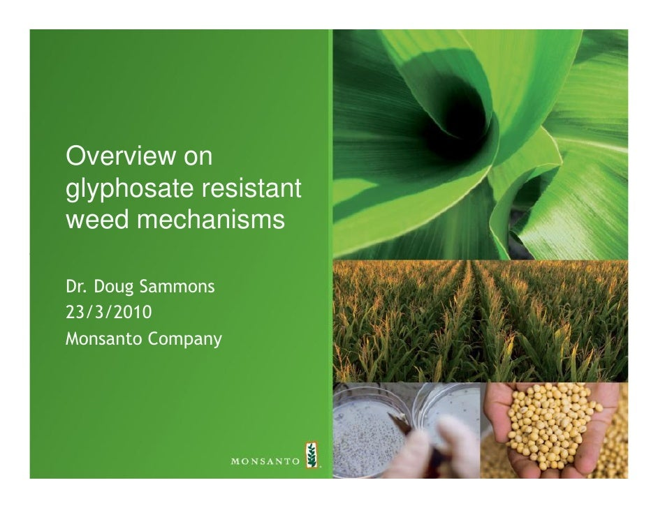 Overview on glyphosate resistant weed mechanisms  Dr. Doug Sammons 23/3/2010 Monsanto Company