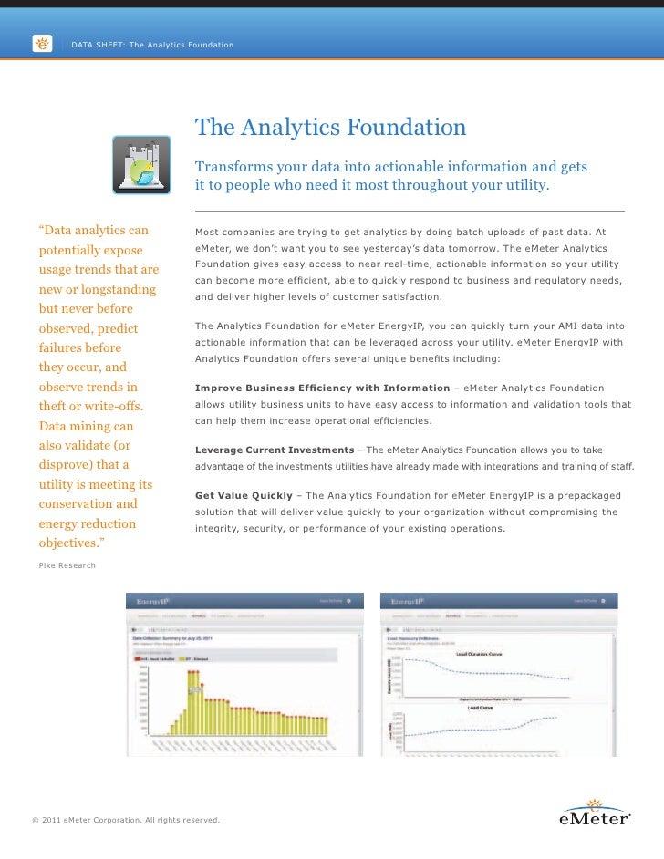 DATA SHEET: The Analytics Foundation                                        The Analytics Foundation                      ...