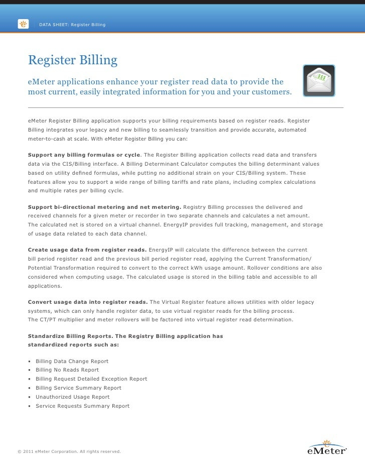 DATA SHEET: Register Billing    Register Billing    eMeter applications enhance your register read data to provide the    ...