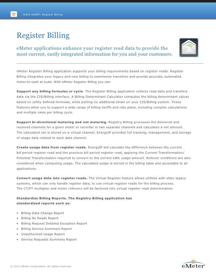 eMeter Register Billing Application Data Sheet