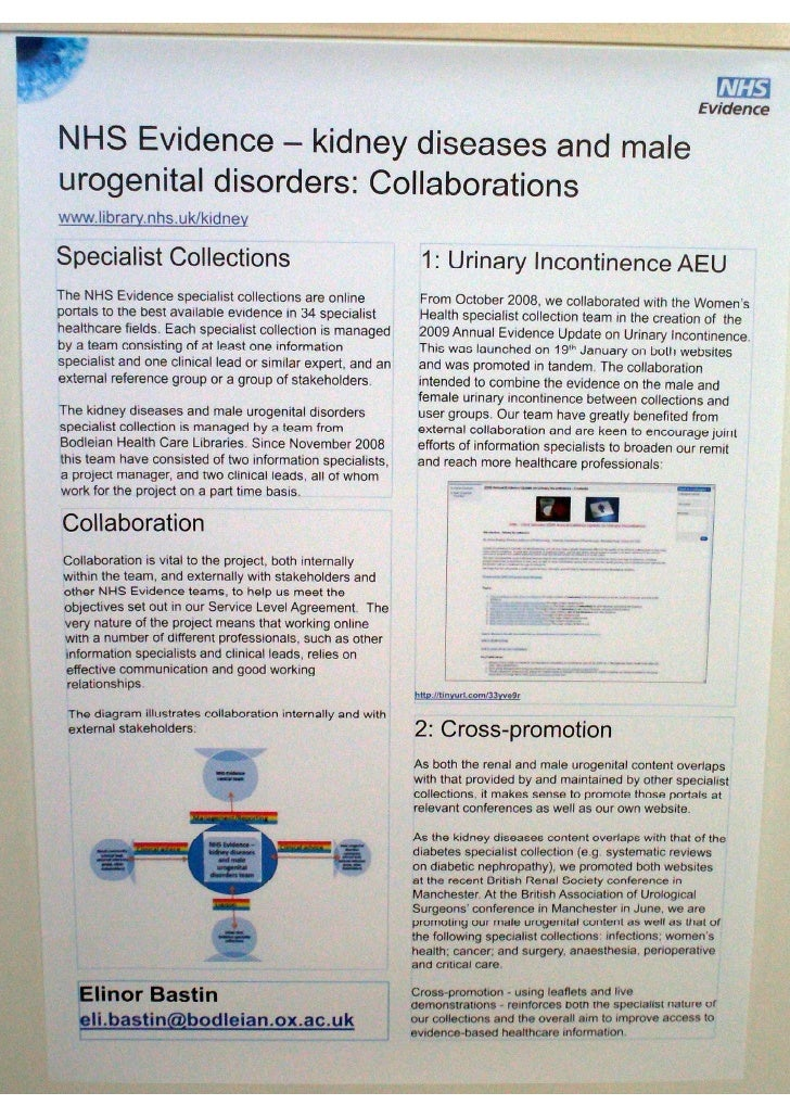 NHS Evidence - kidney diseases and male urogenital disorders: collaborations (Poster EAHIL2010)