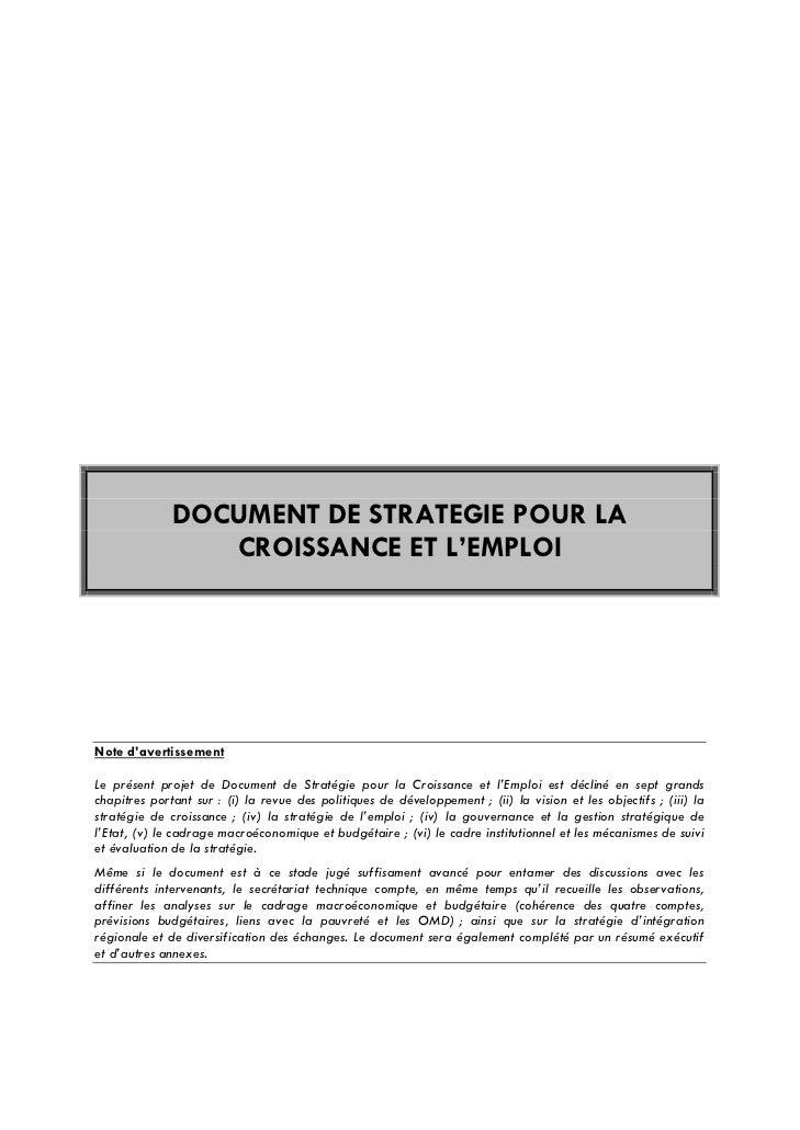DOCUMENT DE STRATEGIE POUR LA                 CROISSANCE ET L'EMPLOINote d'avertissementLe présent projet de Document de S...