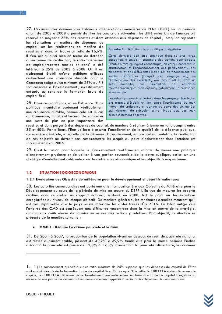 Dsce cameroun for Endettement exterieur