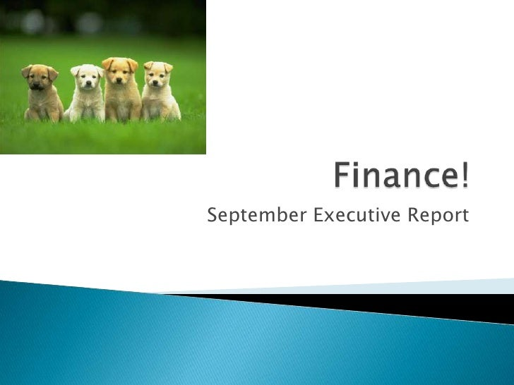 Finance Executive Report, October 2010