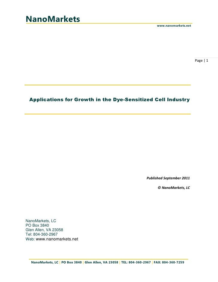 Applications for Growth in the Dye-Sensitized Cell Industry