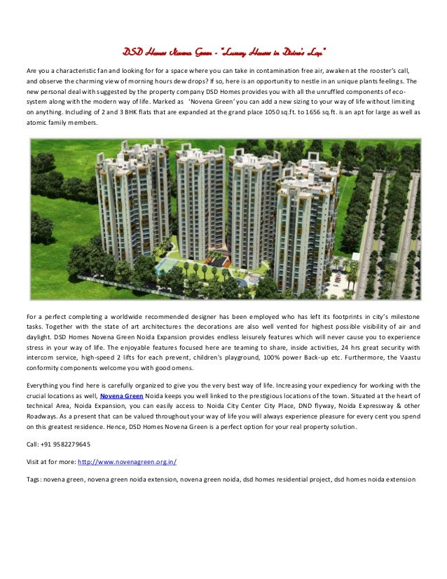 DSD Homes Novena Green - Dream Apartments in Noida lunched by DSD Group