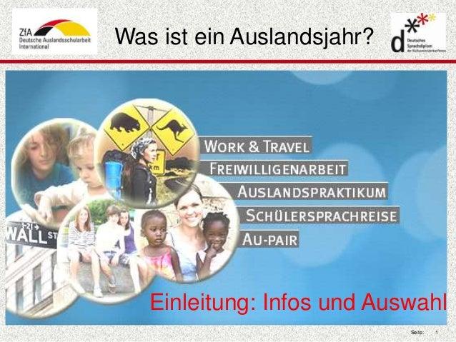 Seite: 1  Was ist ein Auslandsjahr?  Einleitung: Infos und Auswahl