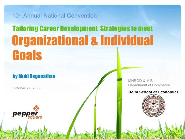 10 th  Annual National Convention by Muki Regunathan October 27, 2005 Goals Tailoring Career Development  Strategies to me...