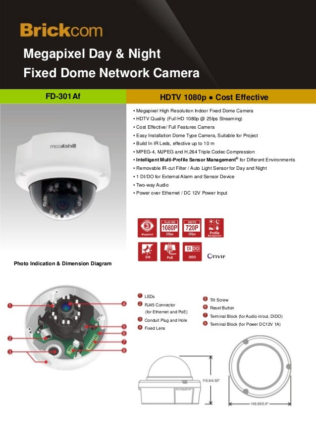 d   Megapixel Day & Night   Fixed Dome Network Camera           FD-301Af                                 HDTV 1080p ● Cost...