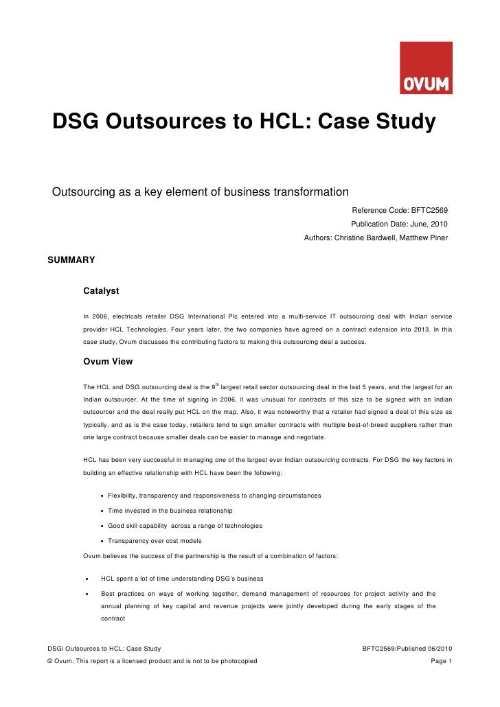DSG Outsources to HCL: Case Study    Outsourcing as a key element of business transformation                              ...