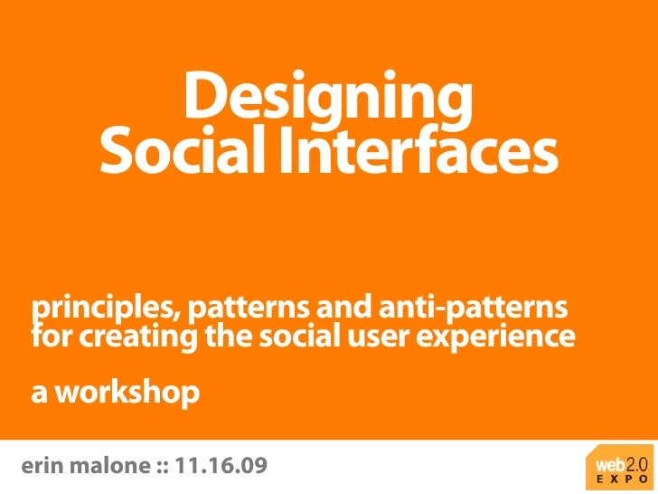 Web 2.0 NY Workshop - Designing Social Interfaces