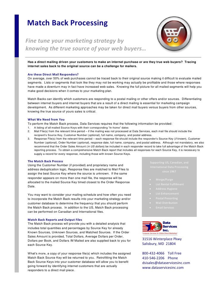 Match Back Processing  Fine tune your marketing strategy by knowing the true source of your web buyers… Has a direct maili...