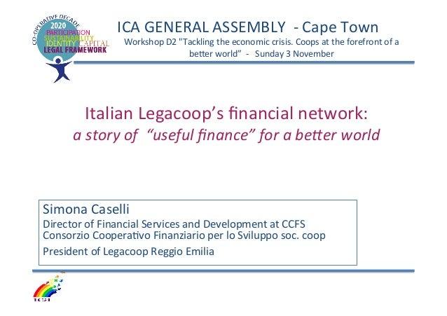 Simona Caselli: Italian Legacoop's financial network