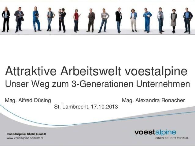 Attraktive Arbeitswelt voestalpine Unser Weg zum 3-Generationen Unternehmen Mag. Alfred Düsing  Mag. Alexandra Ronacher St...
