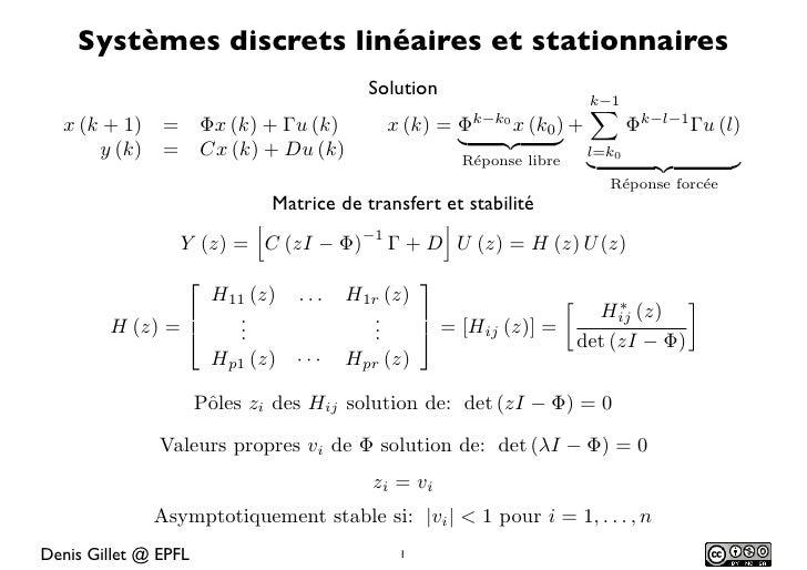 Systèmes discrets linéaires et stationnaires                                          Solution                            ...