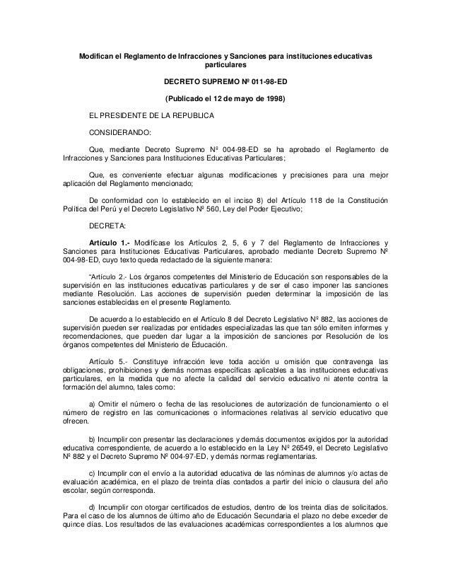 Modifican el Reglamento de Infracciones y Sanciones para instituciones educativas particulares  DECRETO SUPREMO Nº 011-98-...