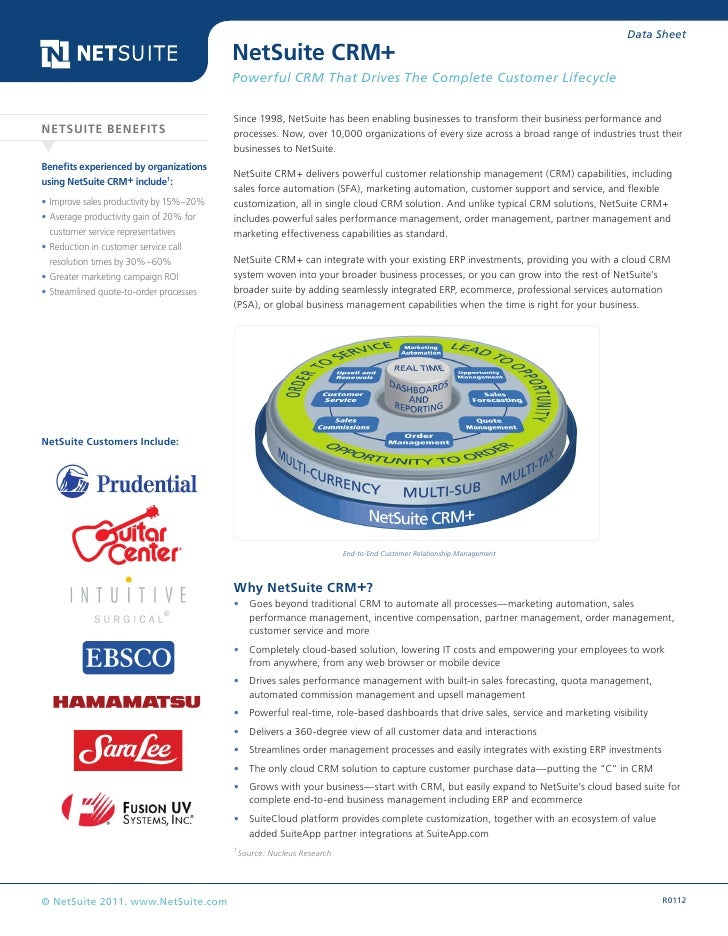 Data Sheet                                          NetSuite CRM+                                          Powerful CRM Th...