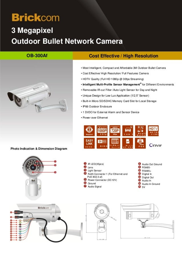 Brickcom  OB-300af  3MPix - 4mm – Wide Angle View Software Option – IR LED / Day & Night  - Outdoor  By Info Tech Middle East - info@infotechme.ws