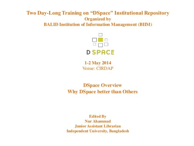"""Two day-long training on """"DSpace"""" Institutional Repository"""