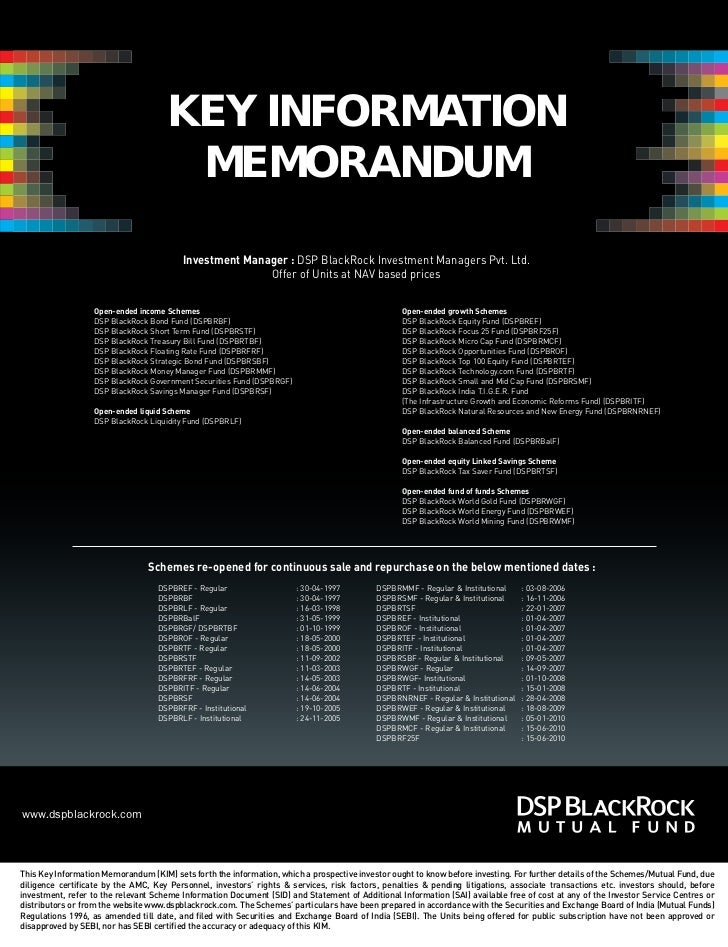 KEY INFORMATION                                      MEMORANDUM                                         Investment Manager...