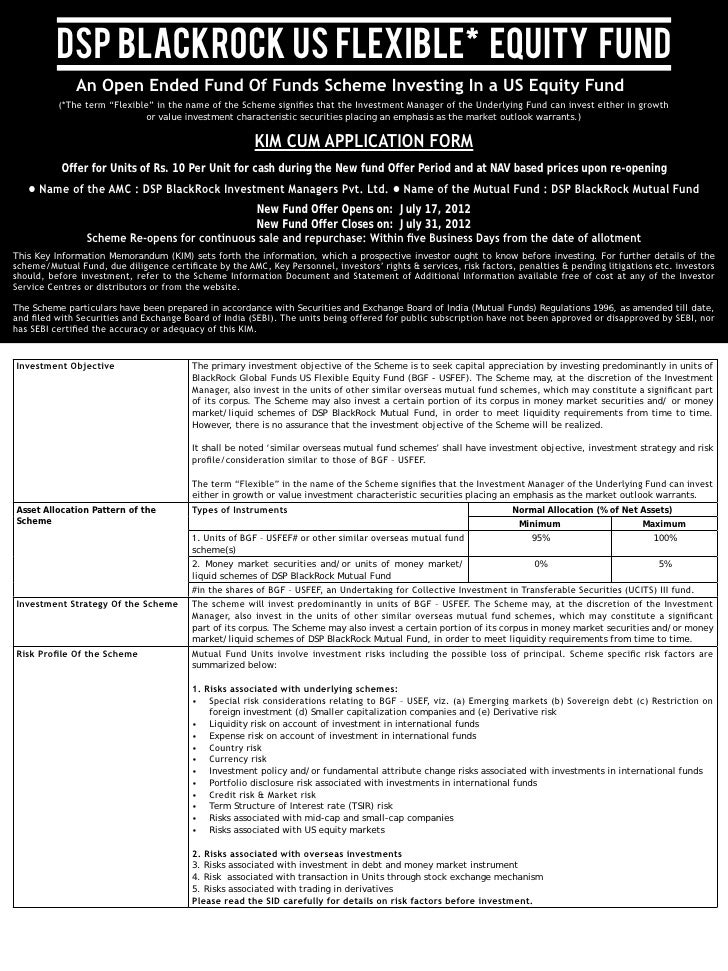 Dsp black rock us flexible equity fund   nfo application from with kim form