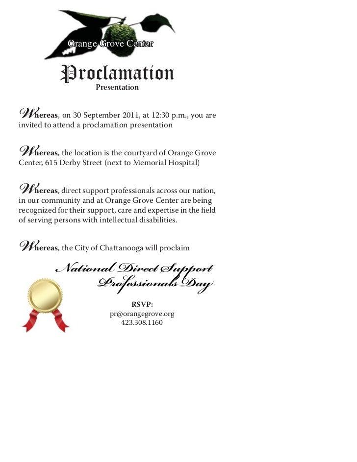 Orange Grove Center            Proclamation                       PresentationW    hereas, on 30 September 2011, at 12:30 ...