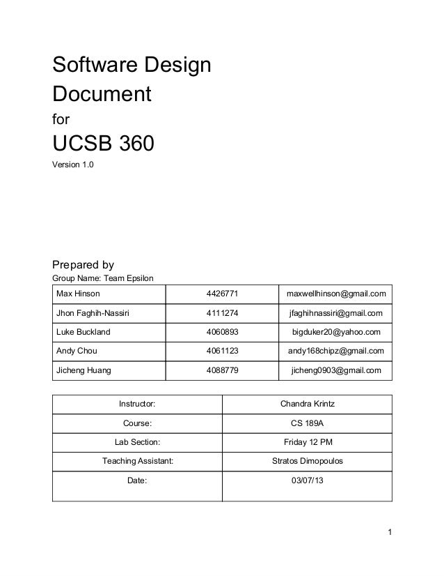 Software Design Document for UCSB 360 Version 1.0 Prepared by Group Name: Team Epsilon Max Hinson 4426771 maxwellhinson@gm...