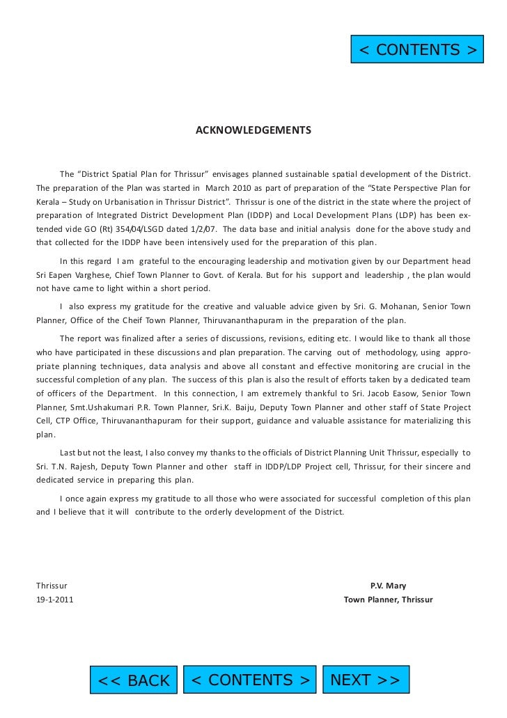 """< CONTENTS >                                            ACKNOWLEDGEMENTS      The """"District Spatial Plan for Thrissur"""" env..."""