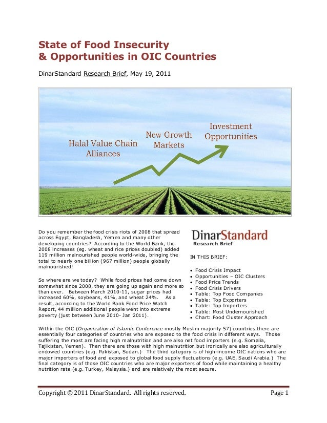 State of food insecurity & oic opportunities