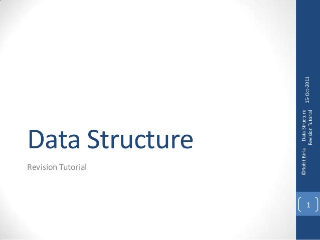 Data Structure Revision Tutorial 15-Oct-2011 ©RohitBirlaDataStructure RevisionTutorial 1