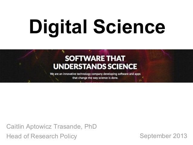 Digital Science Presentation for the Program on Information Science