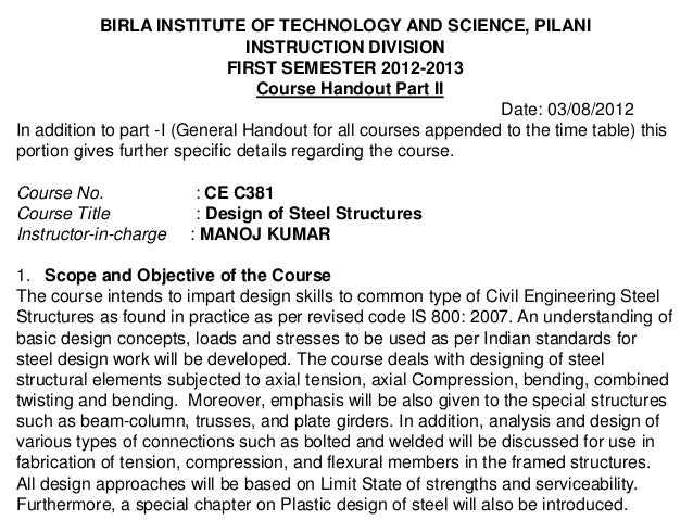 BIRLA INSTITUTE OF TECHNOLOGY AND SCIENCE, PILANI                                INSTRUCTION DIVISION                     ...