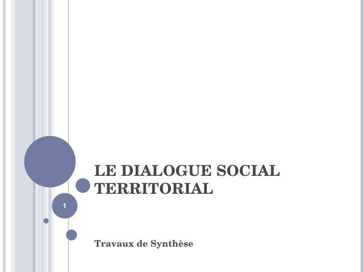 LE DIALOGUE SOCIAL TERRITORIAL Travaux de Synthèse