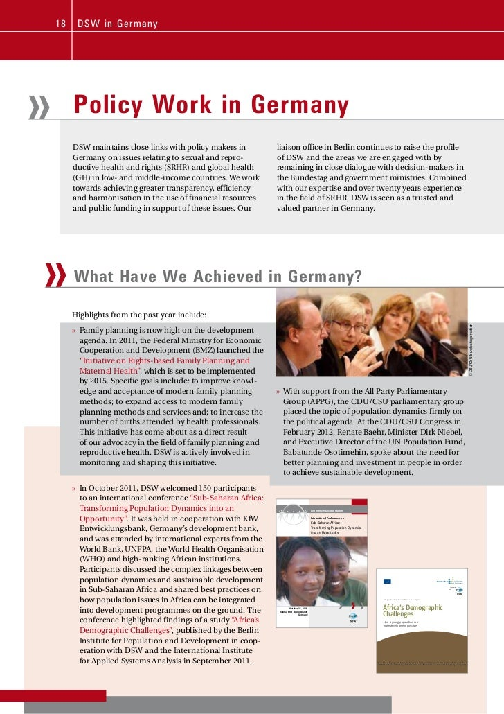 18    D S W i n Ger m any»        Policy Work in Germany         DSW maintains close links with policy makers in          ...