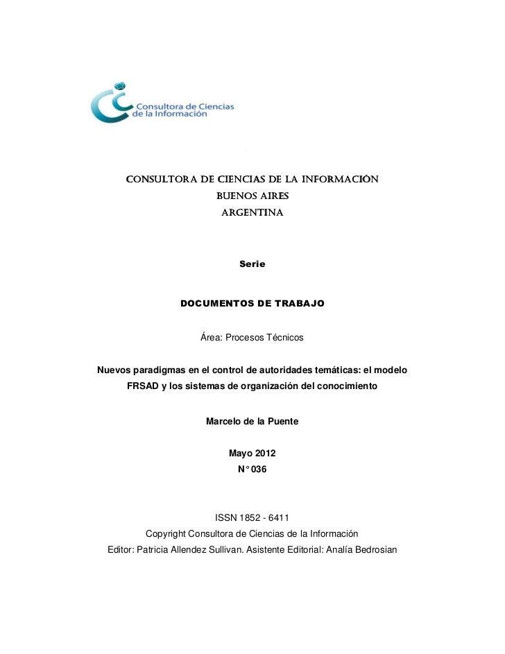 Nuevos paradigmas en el control de autoridades temáticas: el modelo FRSAD y los sistemas de organización del conocimiento