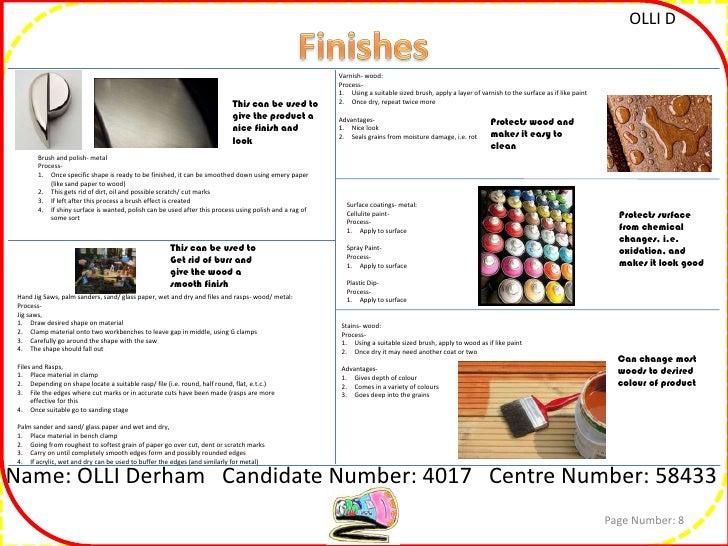 Resistant materials coursework checklist