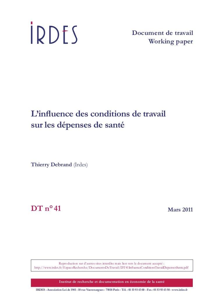Dt41 influenceconditionstravaildepensessante